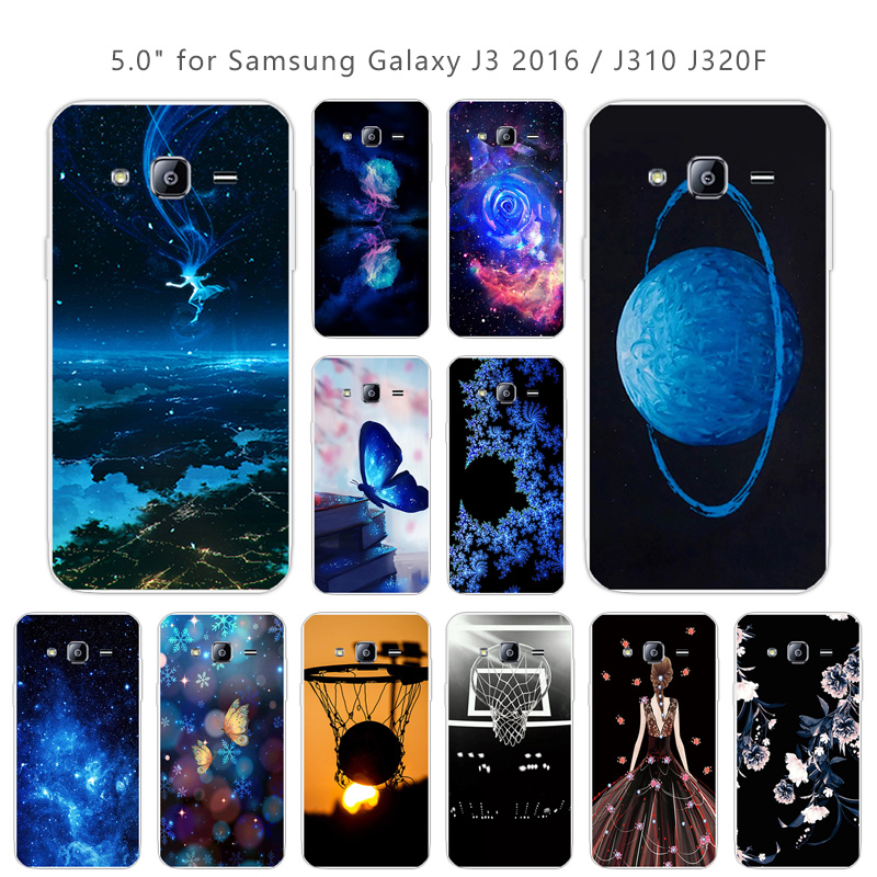 Silicone Cases For Samsung Galaxy J3 2016 J310 Transparent Soft TPU Back Phone Blue Cover 5.0 inch Customize for J310F Capa