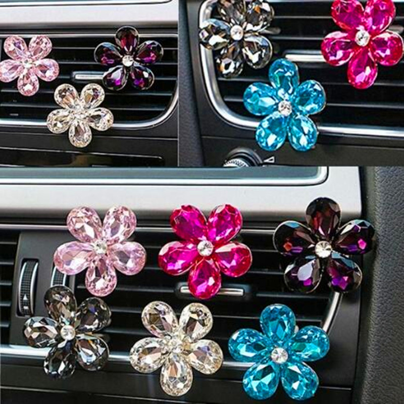 Automobile Air Conditioner Car Accessories Outlet Decoration Crystal Flower Decor Ornaments