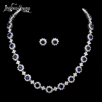 Luxury Flower Cubic Zirconia Jewelry Sets For Women White Gold Color Wedding Jewelry Sets Blue African Beads Jewelry Set AS059