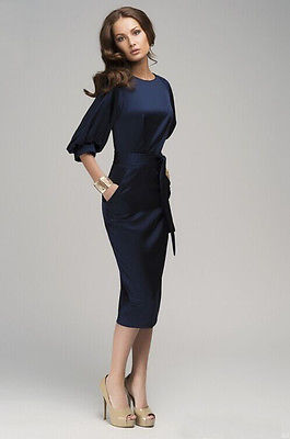 Новое Женское летнее повседневное офисное дамское Формальное вечернее платье средней длины