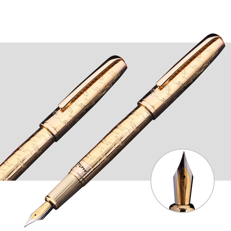 The Best Business Gifts Picasso Pimio 918 Luxury Gold Fountain Pen with 0.5mm Iridium Nib Metal Inking Pens Writing Stationery fountain pen m nib hero 1508 dragon clip signature pens the best gifts free shipping