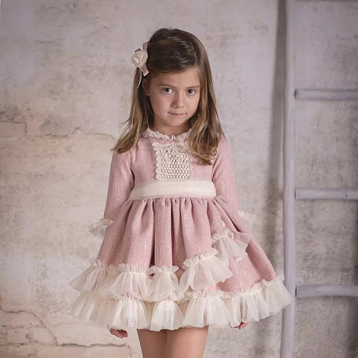 4340 Spanish Christmas Party Toddler Princess Baby Girl Dresses Autumn Winter Kids Dresses For Girls Wholesale baby girl clothes