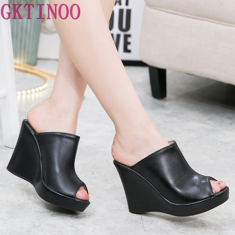 GKTINOO brand sandals summer slippers women sandals shoes 2019 New soft real leather sandals comfort wedge high heel slippersGKTINOO brand sandals summer slippers women sandals shoes 2019 New soft real leather sandals comfort wedge high heel slippers