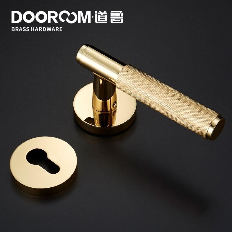 Dooroom laiton serrure de porte levier ensemble exquis croix Knurl européen américain moderne bois intérieur serrure de porte factice fendu poignée bouton - 4