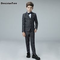 2019 new kids suits blazers baby boys single breasted blouse overalls tie suit boys formal wedding wear children clothing