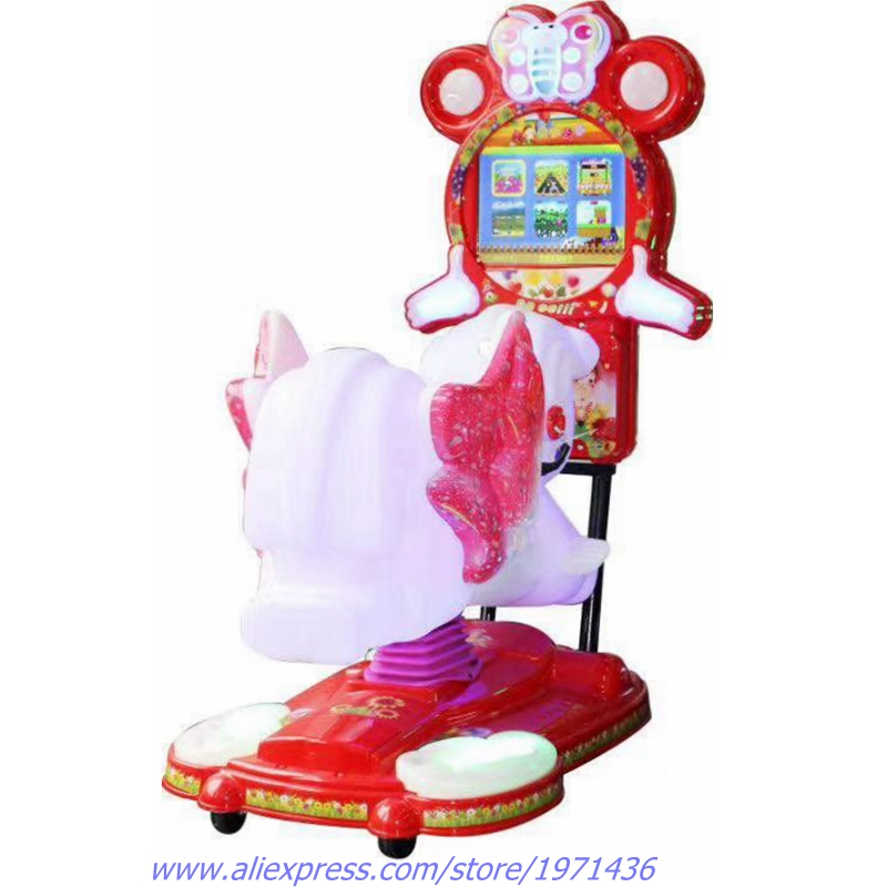 Video Music Lights Token Coin Operated Swing Kiddie Rides Rocking Horse Game Machine For Kids