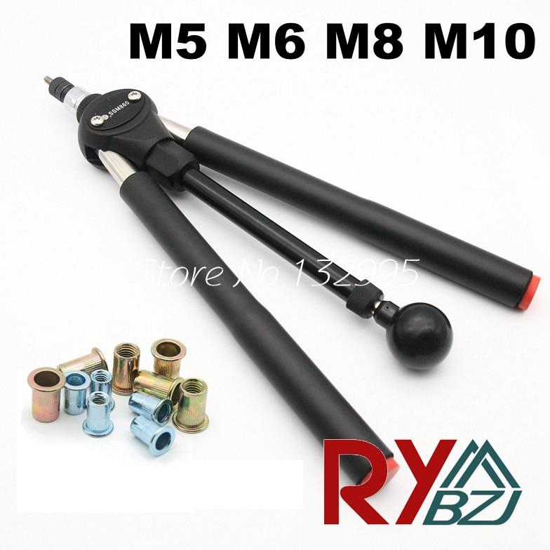 Rivet Nut Guns M5 M6 M8 M10 Double Hand Manual Riveters Hand Blind Rivet Tool SSM8100 Fast Riveting