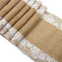 De yute arpillera con encaje corredor de mesa de arpillera x 30x275 cm Vintage fiesta suministros corredor de la tabla de encaje para boda accesorios AA7921