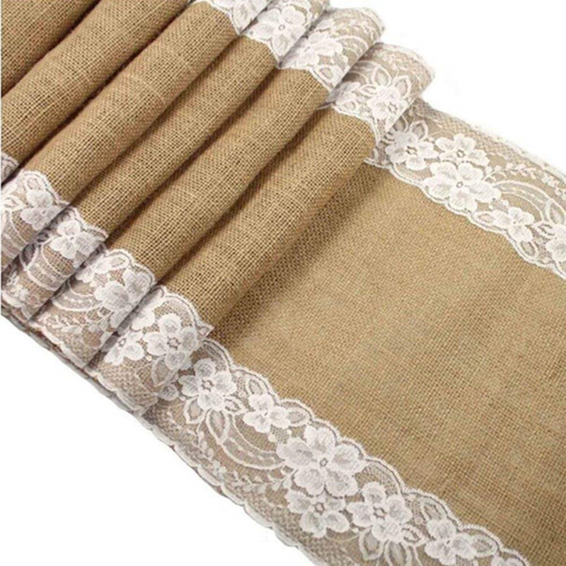 Jute Burlap Lace Hessian Table Runner 30 X 275cm Vintage Event Party Supplies Lace Table Runner For Wedding Accessories  AA7921