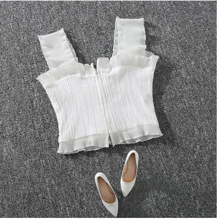 Shintimes 18 New Summer Autumn Bustier White Black Tank Top Female Sexy Bandage Sleeveless Crop Top Zipper Woman Clothes 5