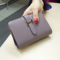 2017 Genuine Leather Luxury Brand Women Short Wallet Moneybag Female Clutches Collapsible Coin Pocket Stella Purses