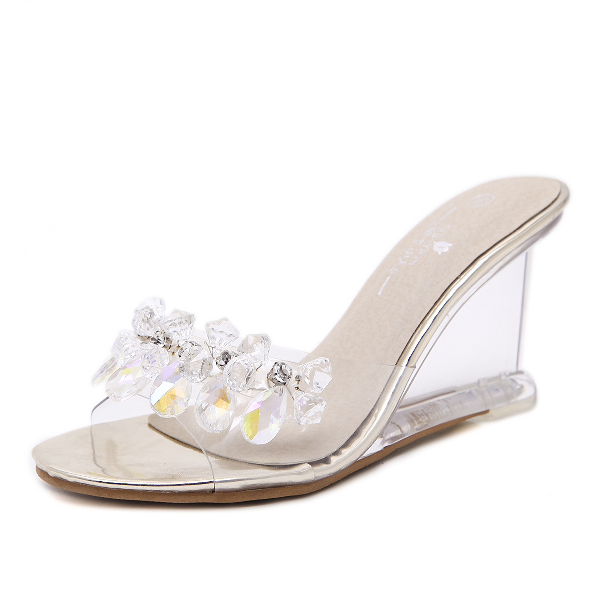 PVC Jelly Sandals Crystal Peep Toe Wedge Sandals High Heels Summer Women Shoes Fashion Beads Clear Heels Female Sandals Slippers