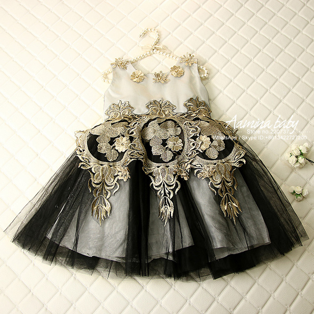 6p408 Black And Gold Flower Lace Baby Girls Dresses Costume Kids