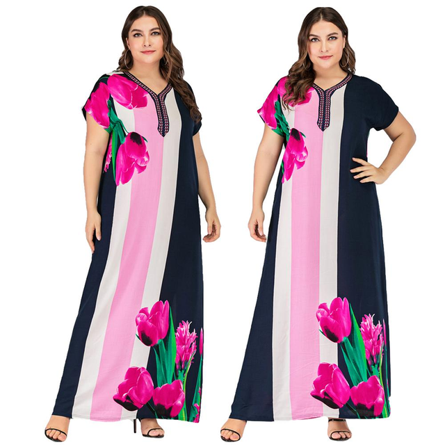 Women Printed Short Sleeve Long Dress Kaftan Abaya Caftan Tunic Plus Size Summer Dress V-neck Ankle-Length Ethnic Style Loose