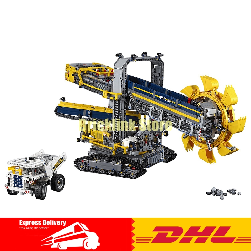 2017 New LEPIN 20015 3929Pcs Technic Bucket Wheel Excavator Model Building assemble Kit Blocks Brick Compatible Toy Gift 42055 wooden 3d building model toy gift puzzle hand work assemble game woodcraft construction kit merry christmas castel shop store