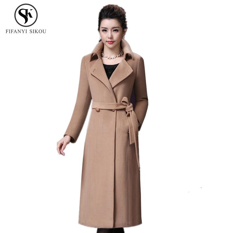 Autumn winter New High grade Wool coat women Fashion Classic Turn down Collar Warm Long Coats