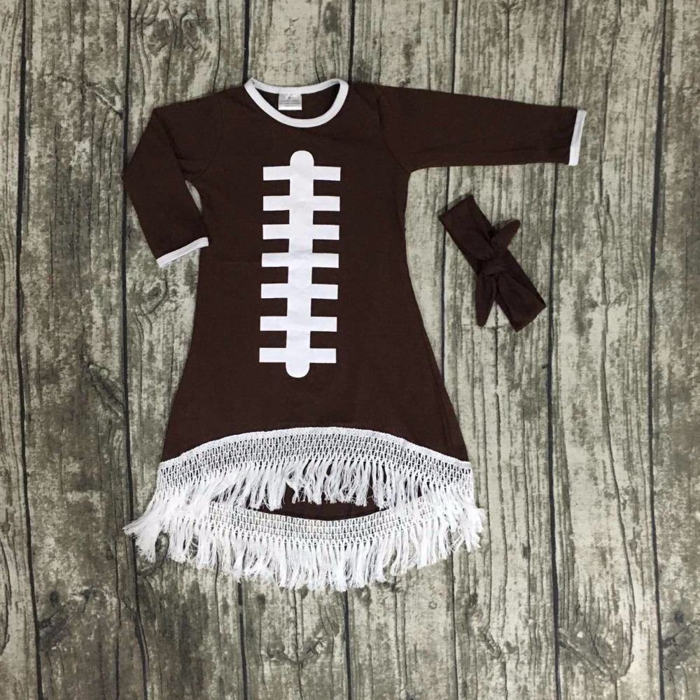2016 Fall baby girls new design football cotton brown dresses soccer season tassel dress long sleeves with matching bow set baby girls football season outfit girls tutus football touch downs clothing children top with football skirts with accessories