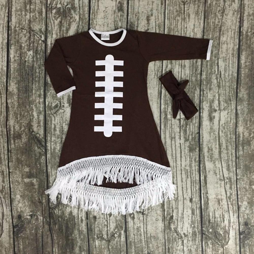 2016 Fall baby girls new design football cotton brown dresses soccer season tassel dress long sleeves