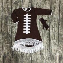 2016 Automne bébé filles nouveau design football coton brun robes de football saison gland robe manches longues avec correspondant arc ensemble