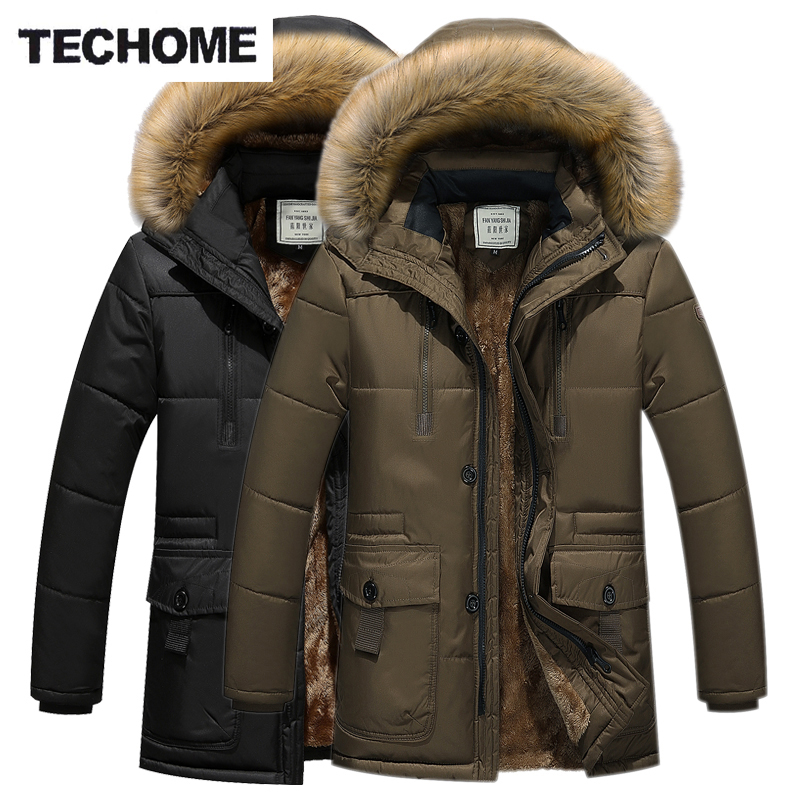 Winter Casual Cotton Jackets 3 Colors Plus Size XXXXL Zipper Thicken Coat With Fur Collar Men baixa Jackets and Warm Snow