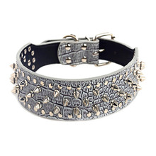 New 2 Wide Spiked Studded Leather Dog Collar Pitbull Bulldog Dog Collars Adjustable for Big Dogs Pet Supplies Accessories dog collars 2 feet wide for pit bulldog boxer doberman
