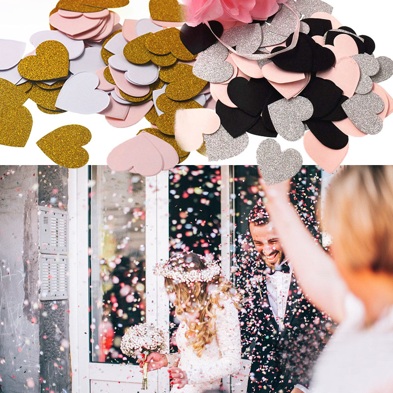 1Bag 3cm Sparkle Heart Shaped Confetti for Wedding Party Sprinkle Debris Ballooon Decor Accessories Colorful Cheap Confetti 75