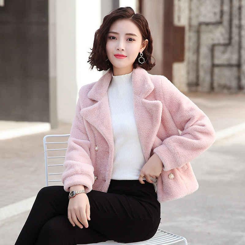 2019 kobiety futro z norek aksamitne grube wełniany płaszcz kobiet szczupła studenci zimowe nowy łatwy dopasowanie kurtka