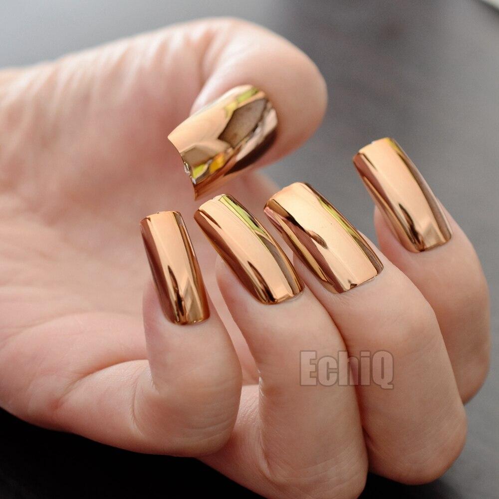 20pcs/kit Shinning Champagne Metallic False Nails Extra Long Mirror ...