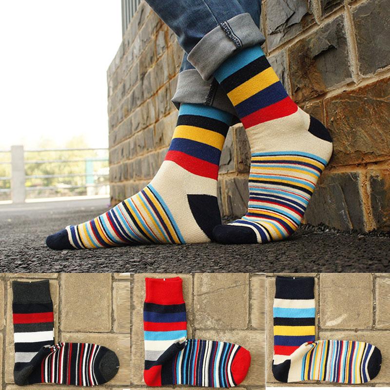 fashion men cotton socks high quality colorful striped happy socks contrast color male dress socks long skateboat hipster meias