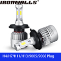 Ironwalls H4/H7/H11/H13/9005/9006 Car Led Headlight Bulbs 72W COB Chips 6500K 8000Lm All-In-One Headlamp Kit Fog Light DC 12/24V