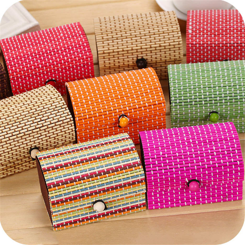 Storage-Box Earring Jewelry Curtain Wooden Treasure Chest Bamboo Large-Capacity Small