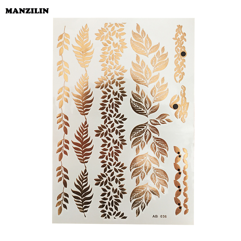 1Pcs Tattoos Art Style Metallic Temporary Tattoo Sexy Product Jewelry Bracelet Leaves Flash Gold Tattoo
