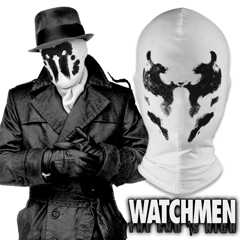 Watchmen Rorschach Mask Walter Kovacs Cosplay White Inkblot Full Face Cotton Mask Halloween Costume Party Funny Masks Props image