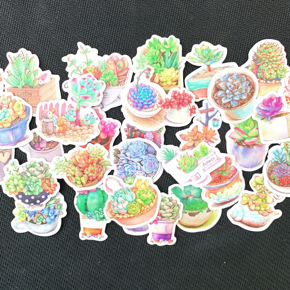 1 Pack Fresh Succulent Plants Decorative Stickers DIY Scrapbooking Diary Album Stick Label Party Decor Kids Gift