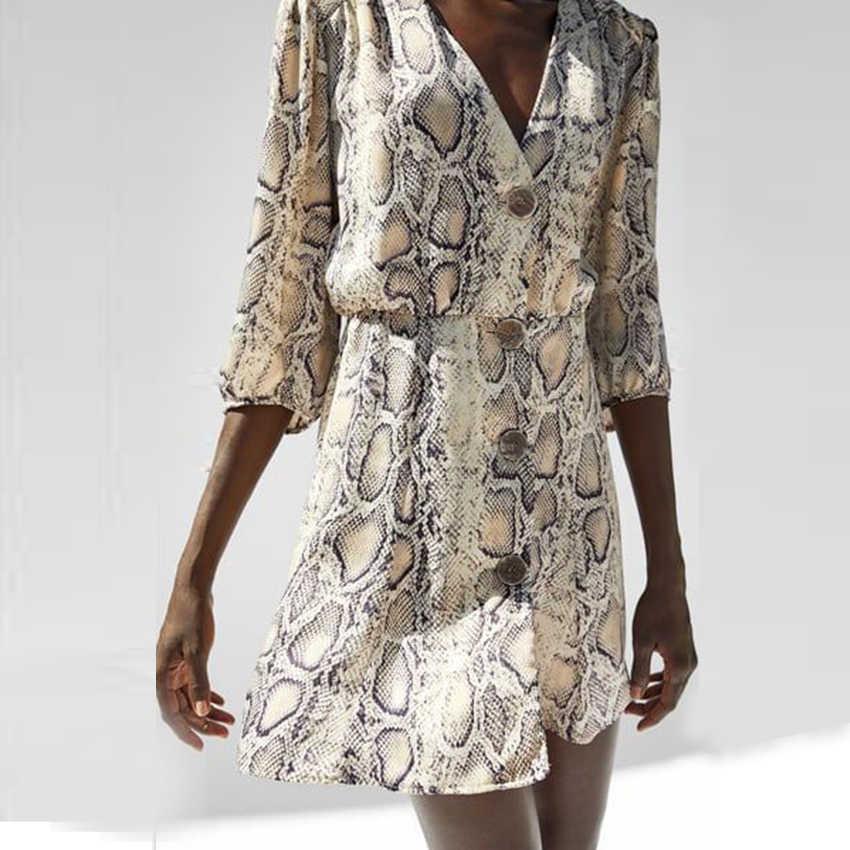 Ржавчина змеиный принт, платье с запахом на шее, богемное пляжное платье для отпуска, расклешенное платье, женское осеннее короткое повседневное элегантное платье