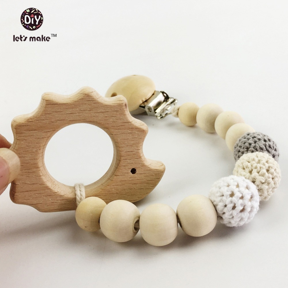 Let's make Baby Teething toy wooden teether animal Pacifier Clip Eco-friendly clip infant holder nature clips teether
