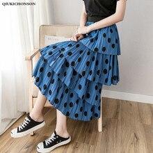 2019 Spring Summer Long Skirts Women Korean Fashion Elastic High Waist Cake Layered Ruffle Polka Dot Pleated Midi Skirt