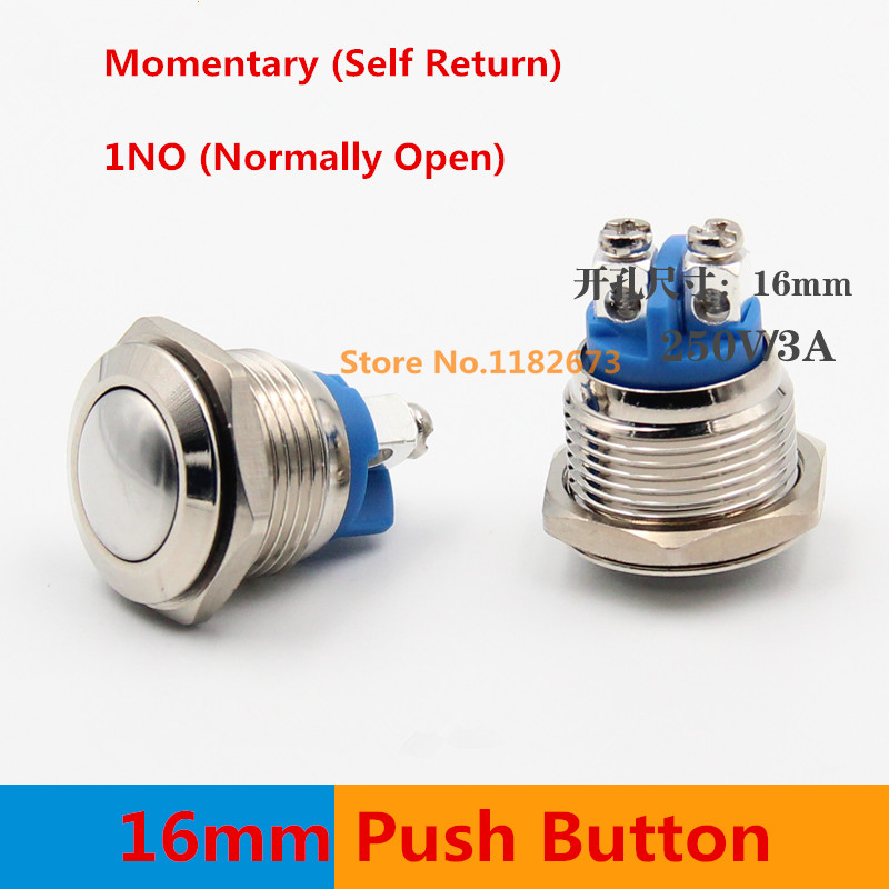 Free Shipping 1PCS 16mm Start Horn Button Momentary Stainless Steel Metal Push Button Switch Arc 50pcs lot 6x6x7mm 4pin g92 tactile tact push button micro switch direct self reset dip top copper free shipping russia
