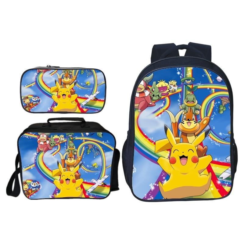 3 pièces/ensemble 2019 mignon Pikachu sacs à dos ensemble pour enfants bébé Pokemon sacs d'école enfants sacs à dos pour garçons filles Bookbag cadeau scolaire
