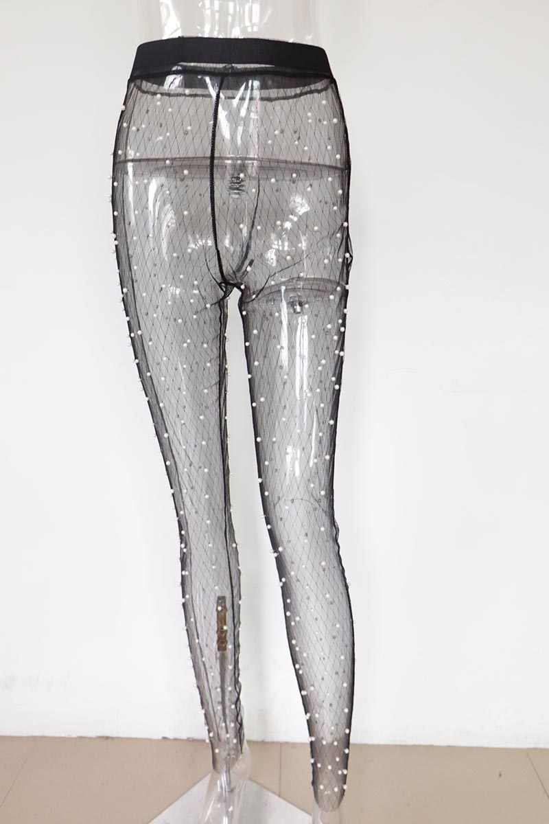 69deb15303bfb ... Beyprern Sexy Women Pearl Mesh High Waist Leggings Embellished Mesh  Pants Stretchy See Through Skinny Pencil ...