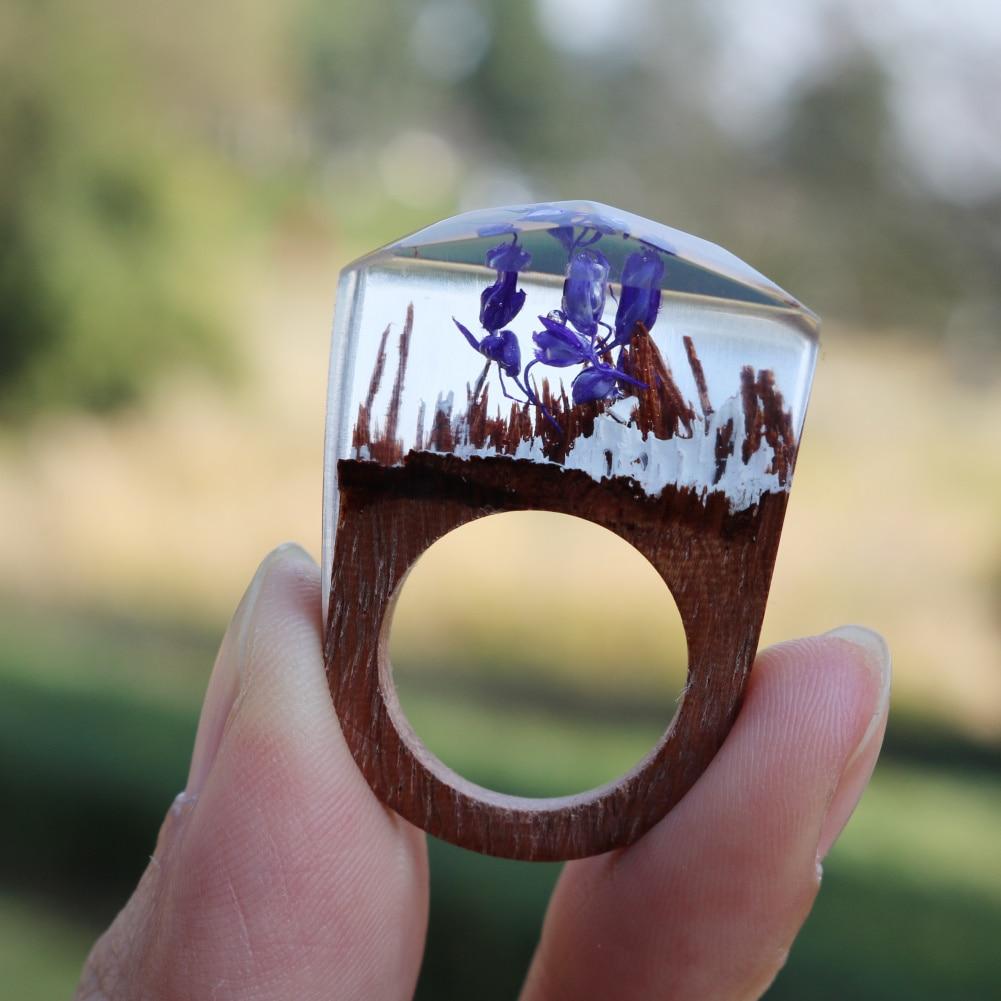 Beautiful Handmade Design Resin Secret Wooden Rings