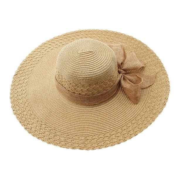 8dbfba5a Women Men Sun Straw Hat Cap Light Coffee Foldable Floppy Wide Large Brim  Summer Beach Linen Band Free Shipping