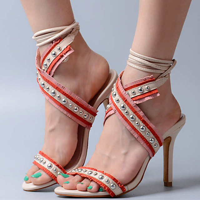 a274a5174108 Summer Fringe Decor Sandals Women Sexy High Heels Gladiator Sandal Tassels  Women Pumps Tie Up Shoes Dress Shoes Sandalias Mujer