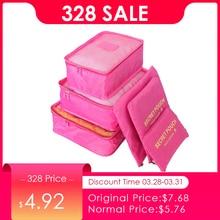 Купить с кэшбэком JULY'S SONG 6PCs/Set Travel Bags Luggage Zipper Bag Portable Packing Organizer Waterproof Case Bag Dropshiping