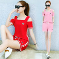 7 Colors Summer 2016 Tracksuits stripe Splice  Short Sleeve Strapless square neckline tops and pants Casual Of Women 2 piece set