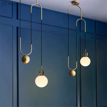 Post-modern chandelier industrial wind Nordic creative design personality Bar Golden Lift Restaurant glass orb pendant lamp