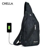 Men Backpack Anti Theft Canvas Chest Bag USB Rechargeable Teenager Single Shoulder Bag Boy Casual Mochila