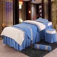 Новая красота кровать покрывала хлопок красоты постельное белье кровать юбка для салонов 4 шт. вышивка сплошной цвет Краткая #382