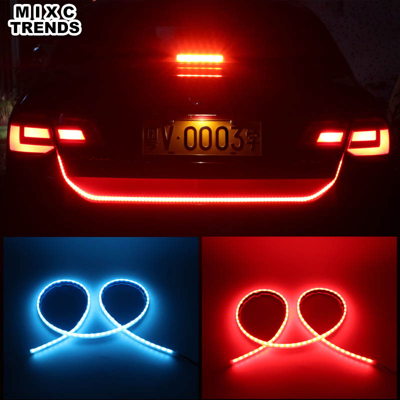 120CM Flexible DRL LED trunk Strip with Turn Signals Rear Tail Flowing lights 12V Car Brake Warning light For BMW car-styling for vw volkswagen polo mk5 6r hatchback 2010 2015 car rear lights covers led drl turn signals brake reverse tail decoration