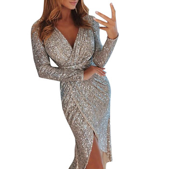 vestidos mujer 2018 sexy dress Women Deep V neck shiny Sequins Wrap Ruched Long Sleeve Night club slim Dresses Платье